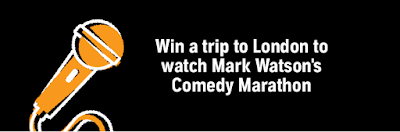 Orange Microphone on black background. Text reads: Win a trip to London to watch Mark Watson's Comedy Marathon
