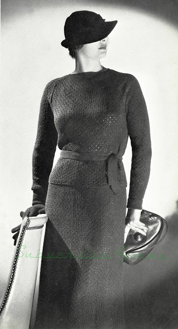 The Vintage Pattern Files: Free 1930's Knitting Pattern - Bantry Skirt and Blouse