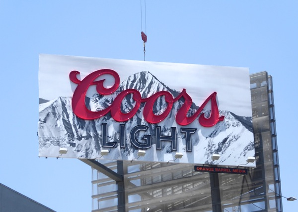 Coors Light neon sign billboard daytime