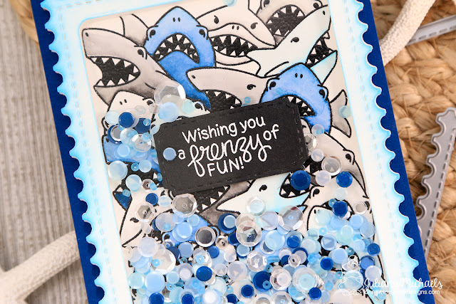 Frenzy Fun Shaker Card by Juliana Michaels featuring Newton's Nook Designs Shark Frenzy Stamp Set