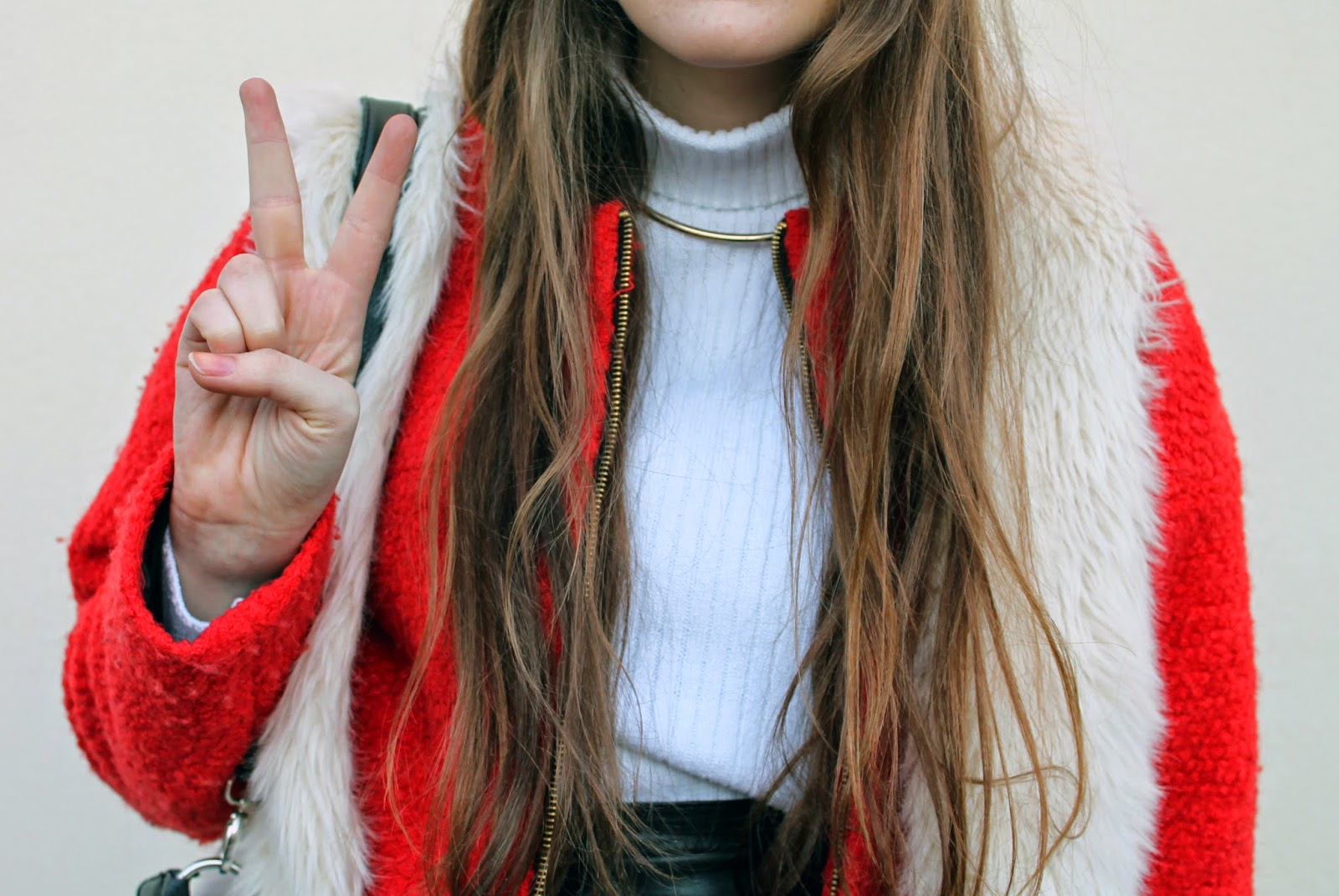 river island gold choker necklace, primark orange coat, faux fur gilet, asos white rib knit poloneck jumper, long wavy hair, beach waves, fashion blogger