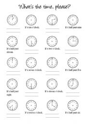 ENGLISH JOINS US!: Elementary I Vocabulary: What time is it?