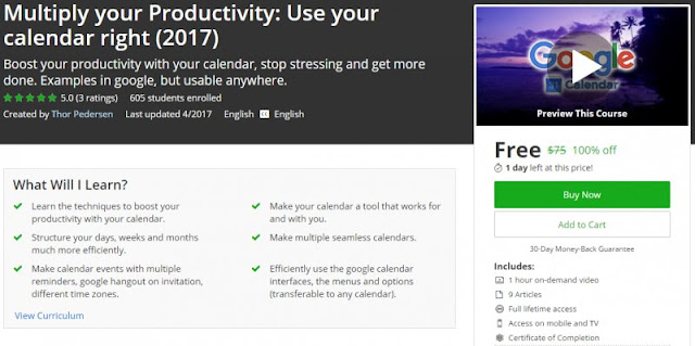 [100% Off] Multiply your Productivity: Use your calendar right (2017)| Worth 75$