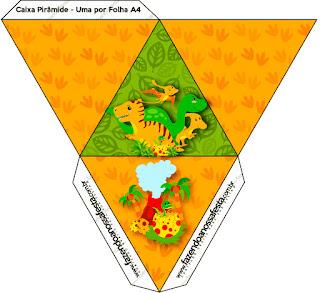 Caja con forma de pirámide de Fiesta de Dinosaurios.