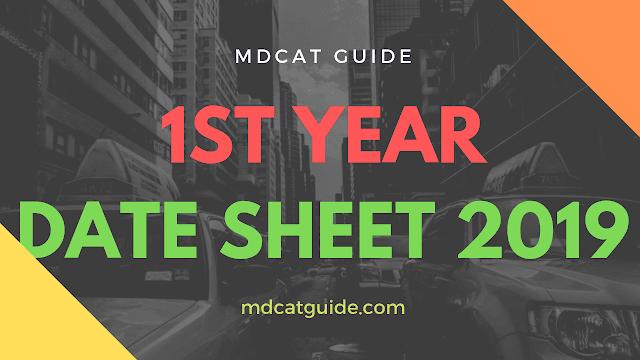 1st Year Date Sheet 2019