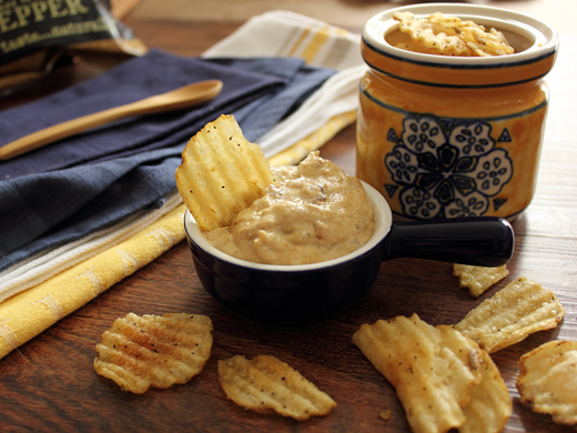 Home Skillet – simmering Blog: Kettle Chips with a Cheesy, Caramelized Onion, Malt Vinegar Dip
