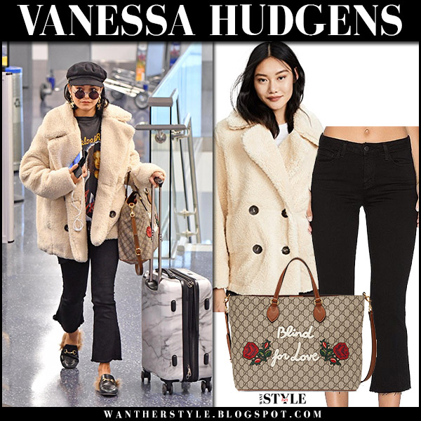 Vanessa Hudgens in cream plush coat free people, black cropped jeans lagence airport fashion style november 7 2017