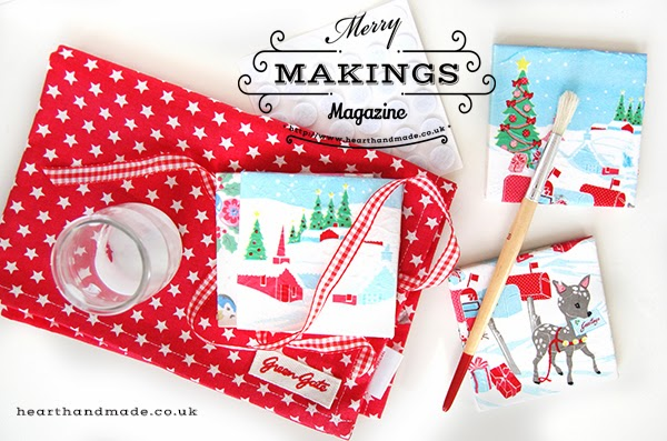 decoupage coasters using Greengate dk napkins - christmas gift idea from #merrymakings magazine