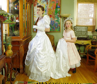 80s Retro Southern Belle White Satin Beaded Bridal Gown