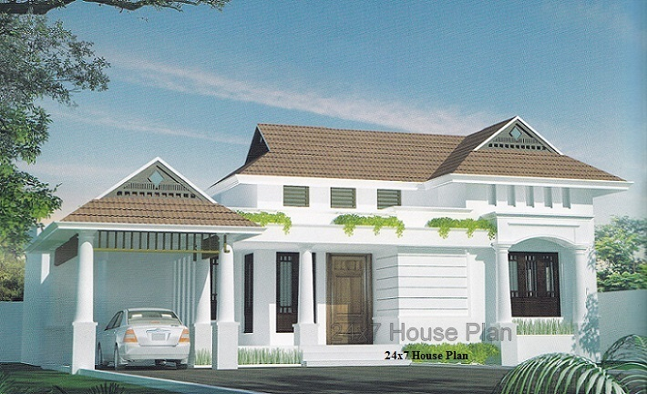 Simple 3 Bedroom Low Cost Kerala Home Plan With Pooja Room