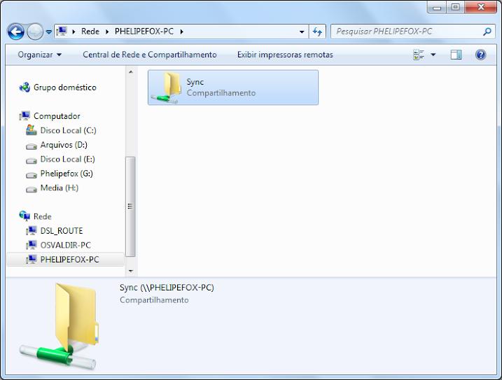 Explorador de arquivos do Windows - O PC PHELIPEFOX-PC foi acessado e é exibido 1 diretório compartilhado chamado Sync.