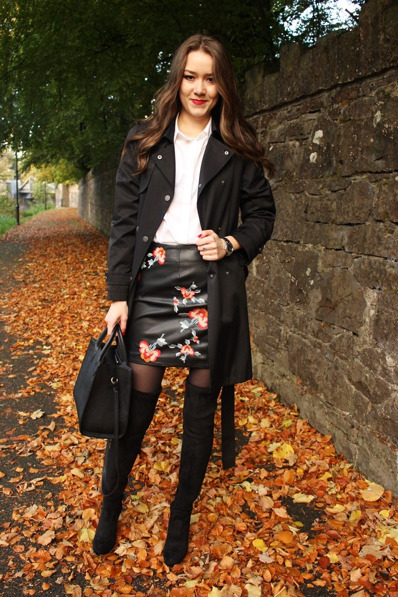 outfit in the leaves, white shirt, black skirt, wavy hair