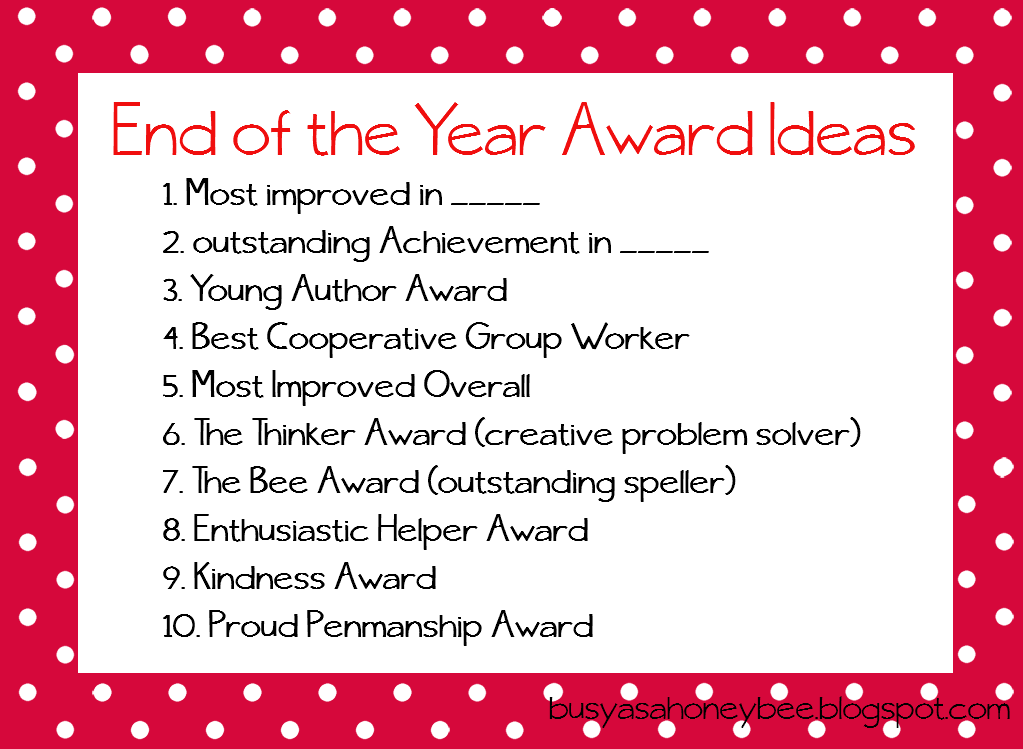 Classroom Prize Ideas : Busy as a honey bee awards but not for me