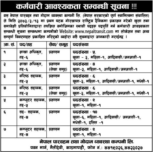 Jobs in Transit in Nepal.