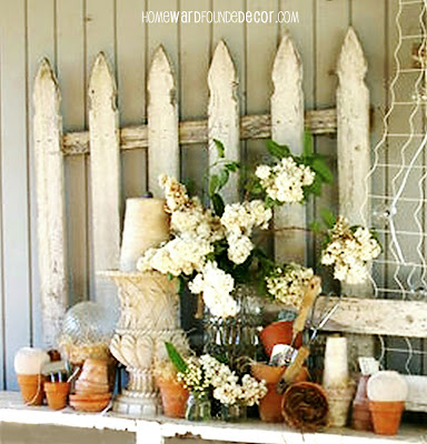 used old garden fencing as wall art  - raid the garden shed for materials to use in your spring decorating - inside and out! homewardFOUNDdecor