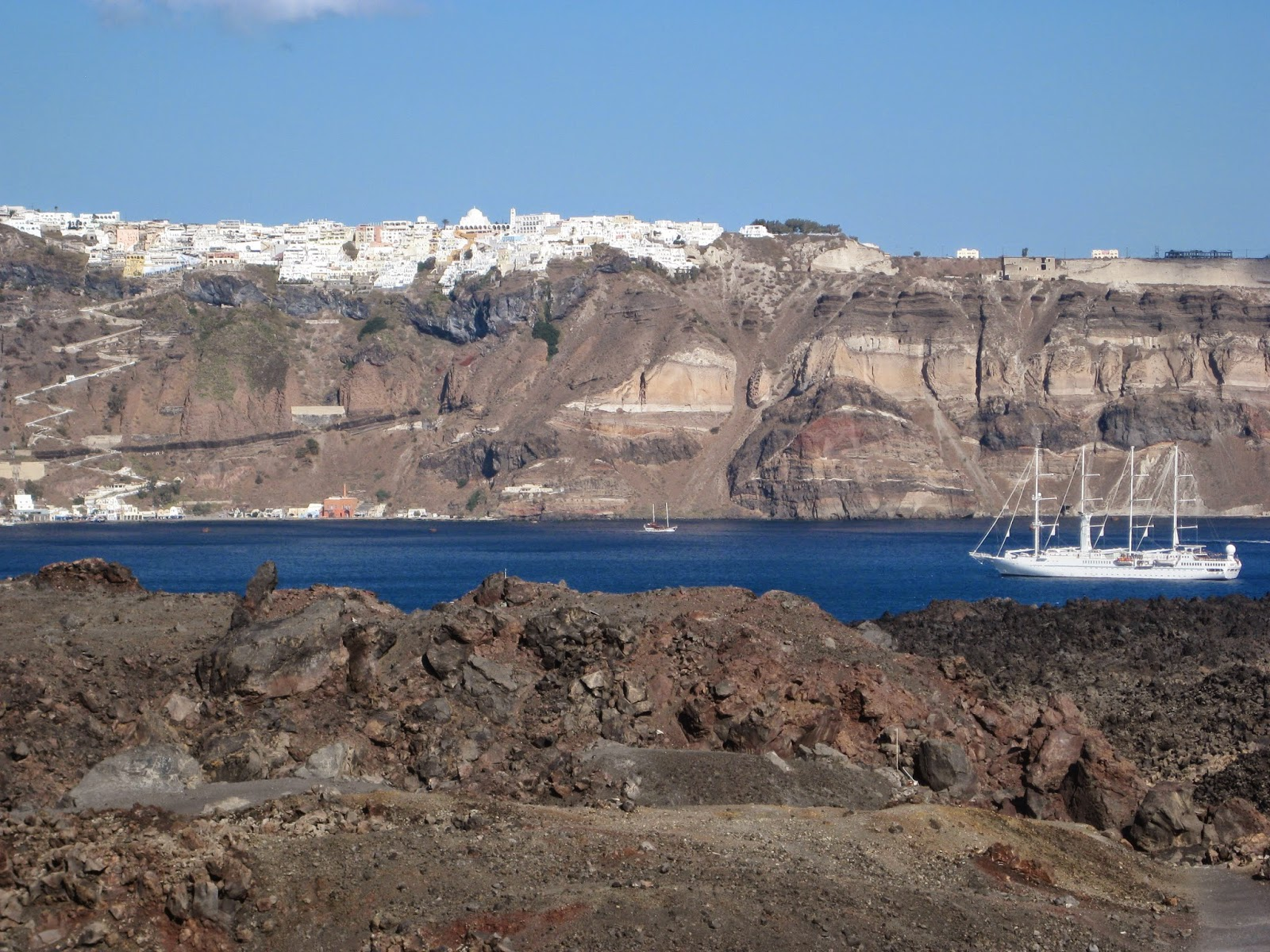 Santorini - Hiking on volcano island which still has smoking craters