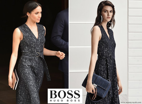 Meghan Markle wore Hugo Boss dress from Spring 2018 Ready-to-Wear Collection