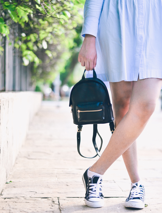 Black Converse, Smock Dress and Mini Backpack