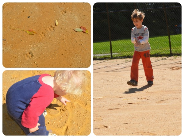 Investigating footprints with kids