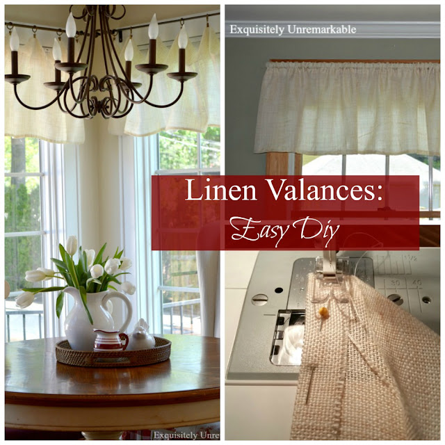 Linen Valances Easy DIY Graphic over linen valances in kitchen