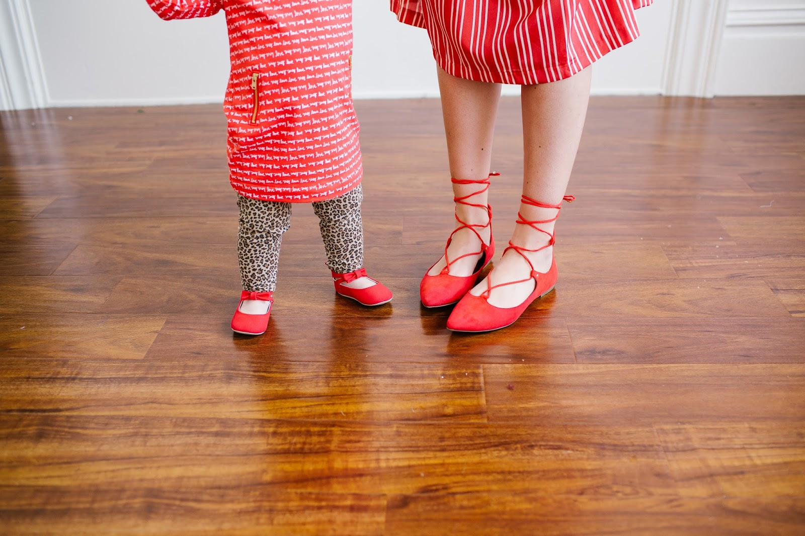 Red flats, mommy and me shoes, Lace up flats