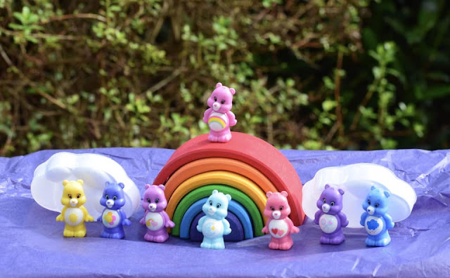 rainbow of care bear squishems