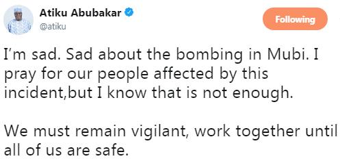 Atiku Abubakar Reacts To Mubi, Adamawa Mosque Bombing