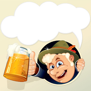 Clipart image of a German man holding a beer beneath a speech bubble