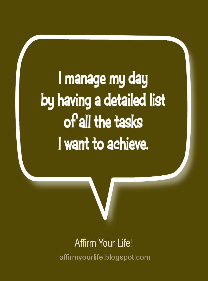 PLANNING affirmation