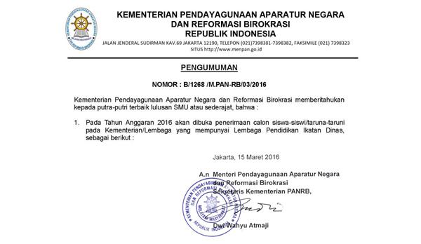Update info lowongan cpns 2016 ikatan dinas untuk lulusan sma