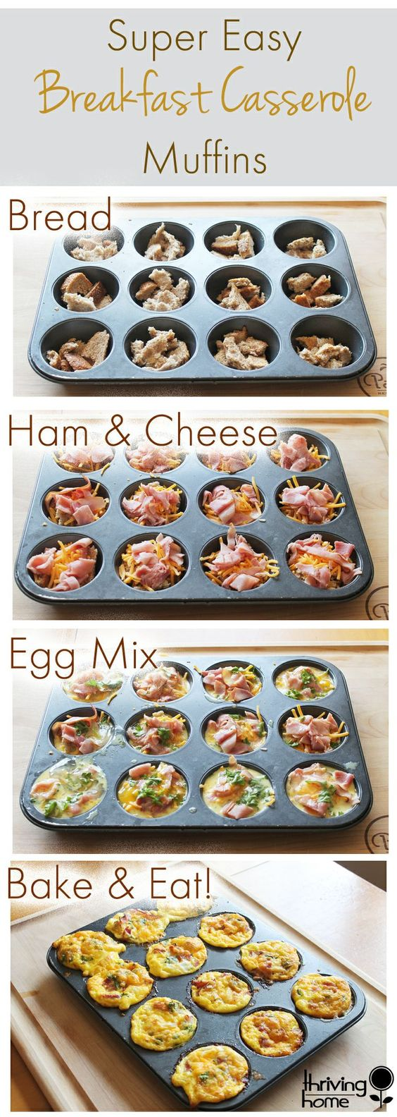 Easy Breakfast Casserole Muffins #easybreakfast #breakfastrecipes #casserole #muffins #easyrecipes
