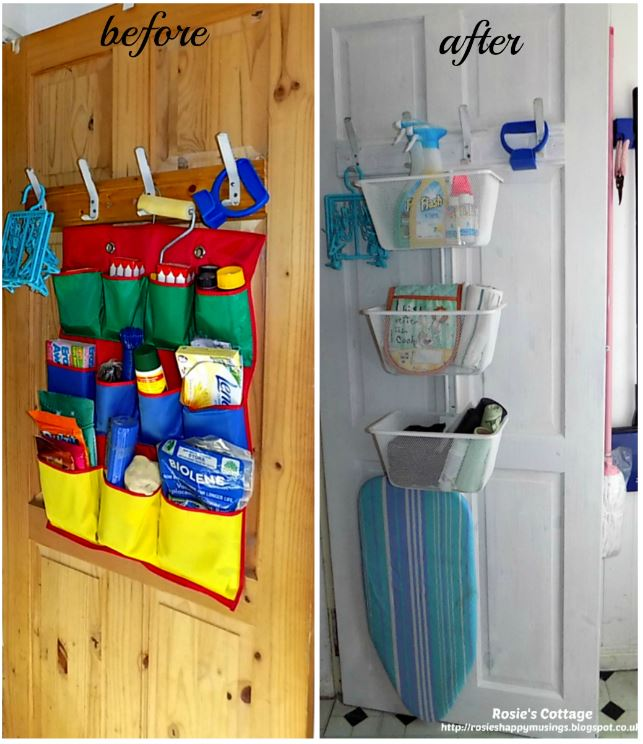 Ikea Algot upright rail & baskets used on an inner cupboard door for extra storage