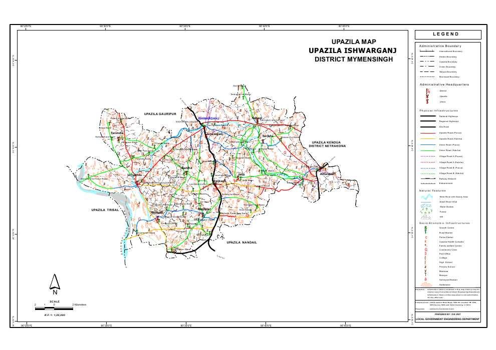 Ishwarganj Upazila Map Mymensingh District Bangladesh