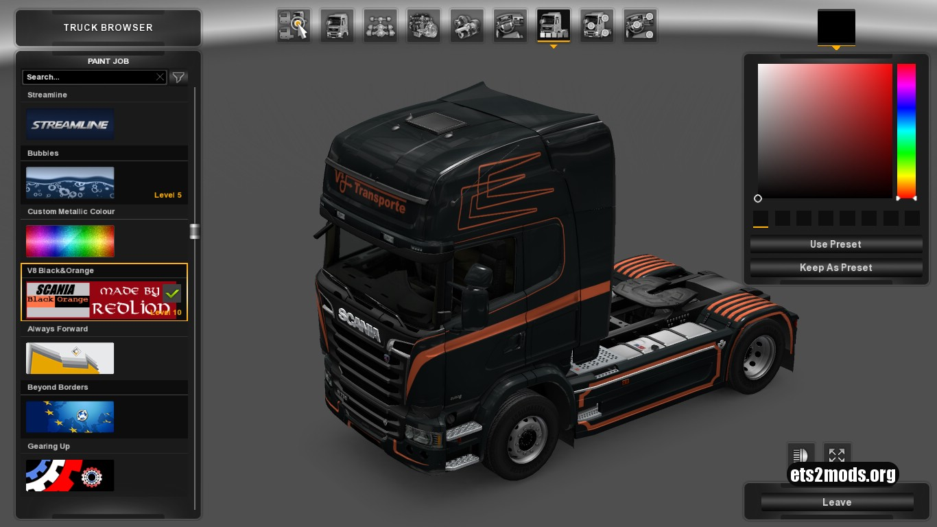 Black & Orange Skin for Scania Streamline