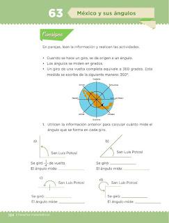 Apoyo Primaria Desafíos matemáticos 3ro Grado Bloque IV Lección 63 México y sus ángulos