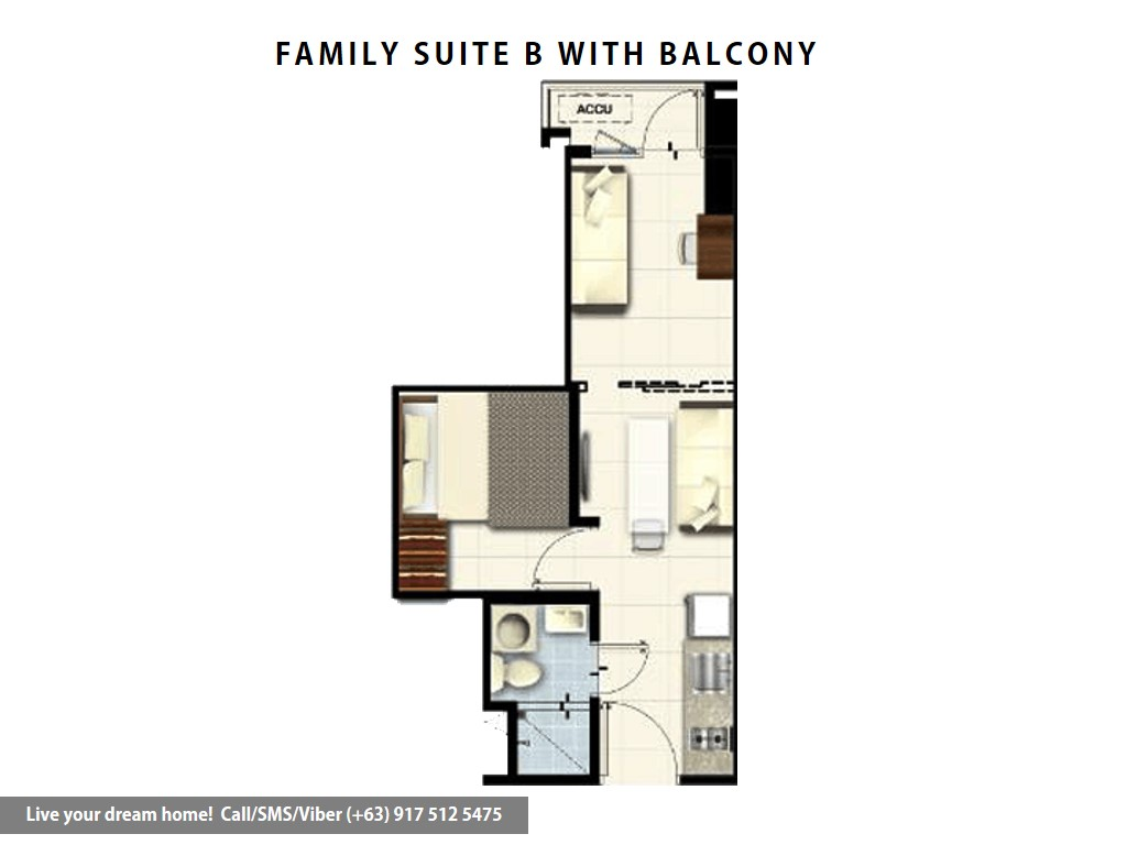 Floor Plan of SMDC Coast Residences - Family Suite B With Balcony | Condominium for Sale Roxas Boulevard Pasay