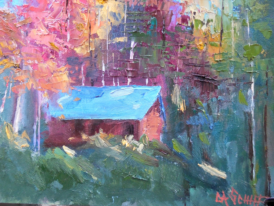 CAROL SCHIFF DAILY PAINTING STUDIO Small Landscape Painting Cabin