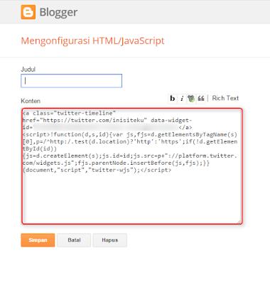 Memasang widget twitter di blogger.com