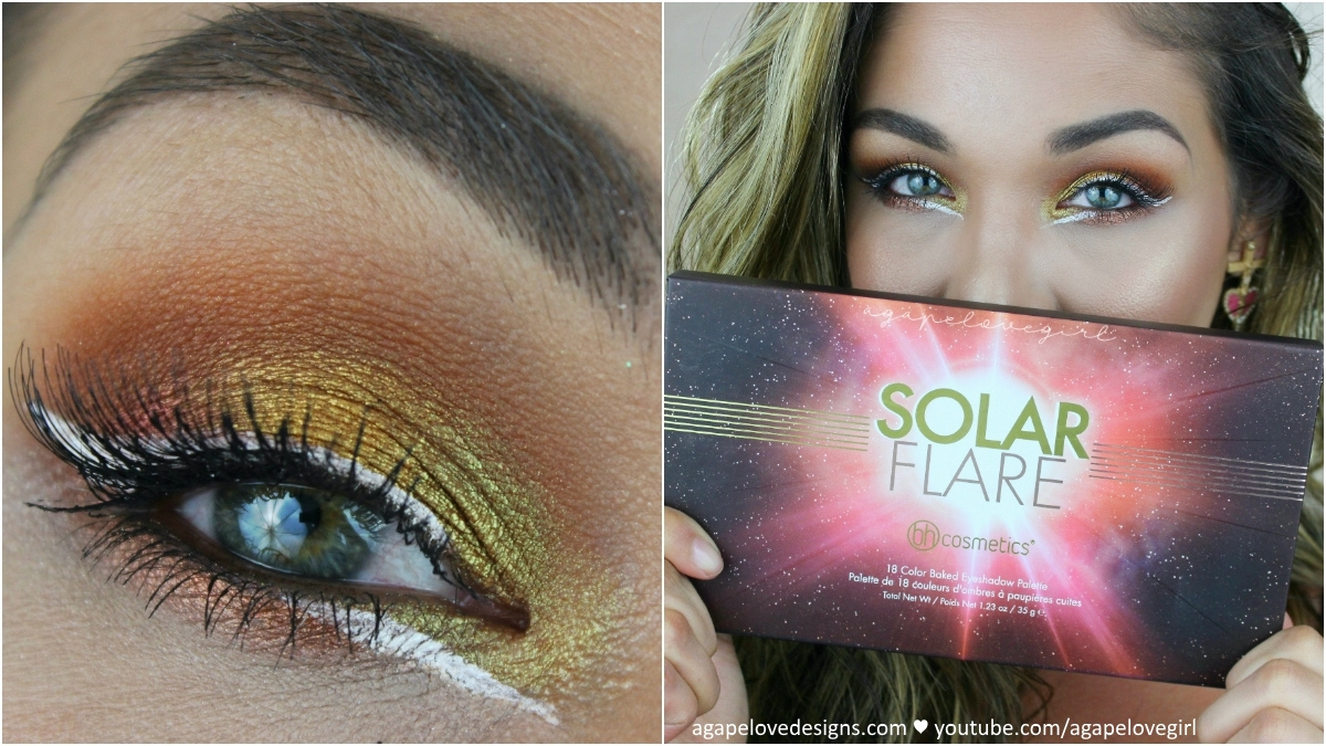Bh cosmetics solar flare palette makeup tutorial agape love hi babes i really hope you all enjoy this fun solar flare makeup tutorial that was inspired by the packaging of the bh cosmetics solar flare palette baditri Image collections