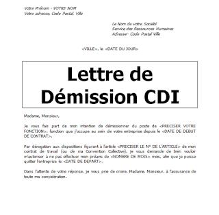 lettre demission sans preavis, demission sans preavis cdi, demisssion avec préavis pdf, lettre de demission sans preavis a l'amiable