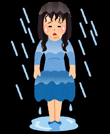 雨でずぶ濡れの人のイラスト