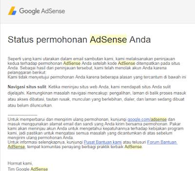 Cara Setting Blog Tidak Disetujui Google Adsense Dengan Alasan Navigasi Sulit