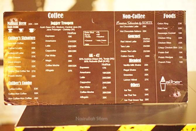 Daftar harga dan menu di Caliber Coffee Jogja