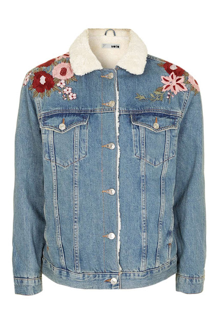 topshop embroidered denim jacket, denim borg embroidered jacket,