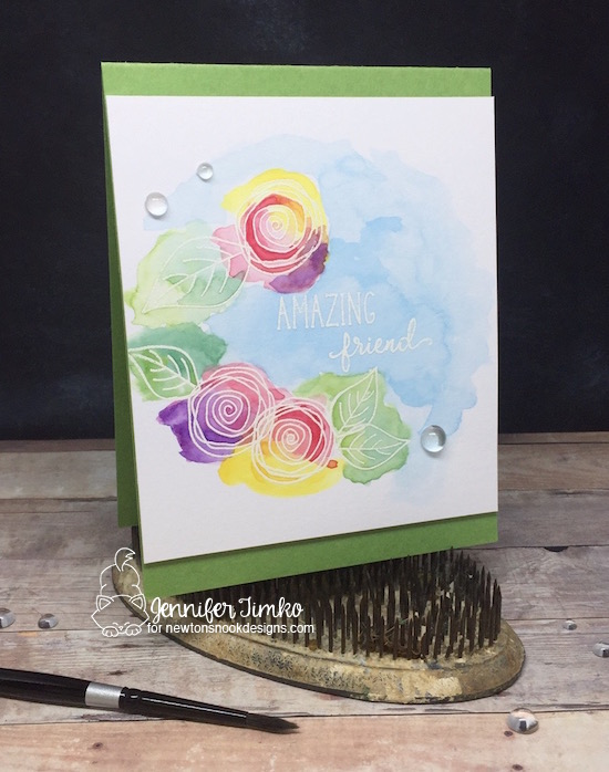 Watercolor Floral by Jennifer Timko | Lovely Blooms Stamp Set by Newton's Nook Designs #newtonsnook #handmade