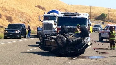 fresno rollover pickup truck crash friant road