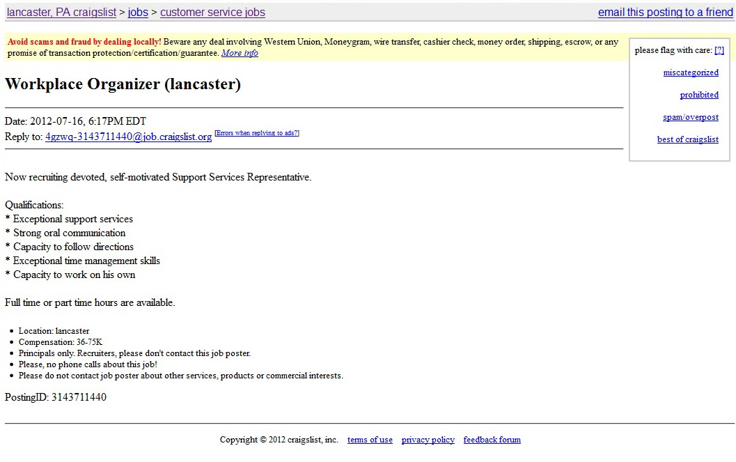 Craigslist part time jobs near me
