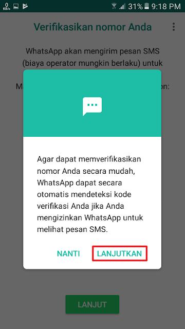 WhatsApp dapat secara otomatis mendeteksi kode verifikasi Anda jika Anda mengizinkan WhatsApp untuk melihat pesan SMS.