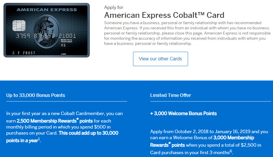 Canadian Rewards: AmEx Cobalt Card: Up to 33,000 MR Welcome