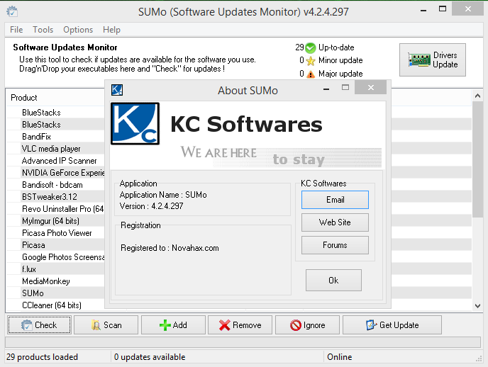 kc softwares' software update monitor lite (sumo)